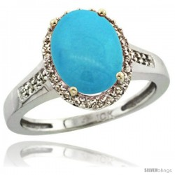 10k White Gold Diamond Sleeping Beauty Turquoise Ring 2.4 ct Oval Stone 10x8 mm, 1/2 in wide