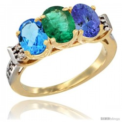 10K Yellow Gold Natural Swiss Blue Topaz, Emerald & Tanzanite Ring 3-Stone Oval 7x5 mm Diamond Accent
