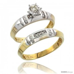 10k Yellow Gold Ladies' 2-Piece Diamond Engagement Wedding Ring Set, 5/32 in wide -Style 10y122e2