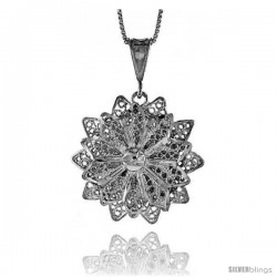 Sterling Silver Large Floral Filigree Pendant, 1 1/4 in Tall
