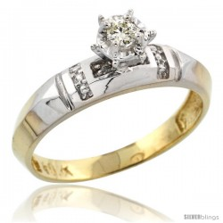 10k Yellow Gold Diamond Engagement Ring, 5/32 in wide -Style 10y122er