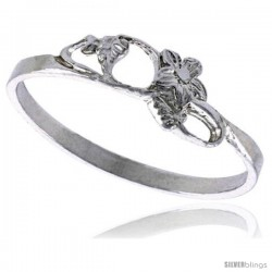 Sterling Silver Floral Ring Polished finish 1/4 in wide -Style Ffr439