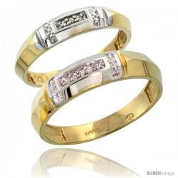 10k Yellow Gold Diamond 2 Piece Wedding Ring Set His 5.5mm & Hers 4mm