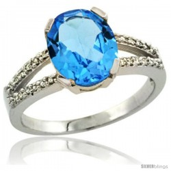 Sterling Silver and Diamond Halo Natural Swiss Blue Topaz Ring 2.4 carat Oval shape 10X8 mm, 3/8 in (10mm) wide