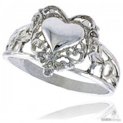 Sterling Silver Filigree Heart Ring Polished finish 1/2 in wide