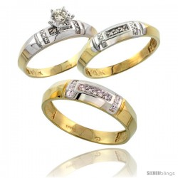 10k Yellow Gold Diamond Trio Wedding Ring Set His 5.5mm & Hers 4mm