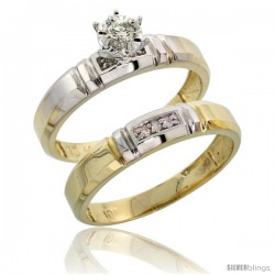 10k Yellow Gold Ladies' 2-Piece Diamond Engagement Wedding Ring Set, 5/32 in wide -Style 10y123e2