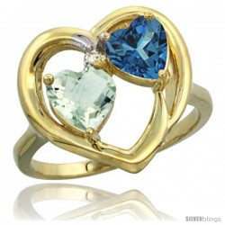 14k Yellow Gold 2-Stone Heart Ring 6mm Natural Green Amethyst & London Blue Topaz Diamond Accent, Diamond Accent
