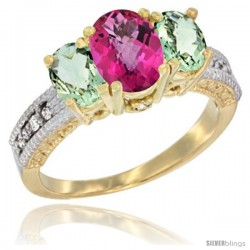 14k Yellow Gold Ladies Oval Natural Pink Topaz 3-Stone Ring with Green Amethyst Sides Diamond Accent
