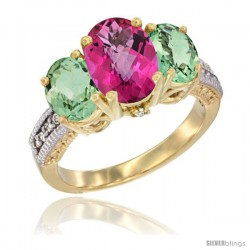 14K Yellow Gold Ladies 3-Stone Oval Natural Pink Topaz Ring with Green Amethyst Sides Diamond Accent