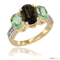 14K Yellow Gold Ladies 3-Stone Oval Natural Smoky Topaz Ring with Green Amethyst Sides Diamond Accent
