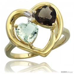 14k Yellow Gold 2-Stone Heart Ring 6mm Natural Green Amethyst & Smoky Topaz Diamond Accent, Diamond Accent