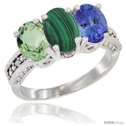 14K White Gold Natural Green Amethyst, Malachite & Tanzanite Ring 3-Stone 7x5 mm Oval Diamond Accent