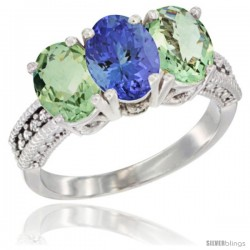 14K White Gold Natural Tanzanite & Green Amethyst Sides Ring 3-Stone 7x5 mm Oval Diamond Accent
