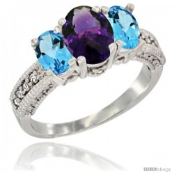 14k White Gold Ladies Oval Natural Amethyst 3-Stone Ring with Swiss Blue Topaz Sides Diamond Accent