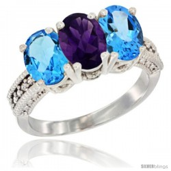 14K White Gold Natural Amethyst & Swiss Blue Topaz Sides Ring 3-Stone 7x5 mm Oval Diamond Accent