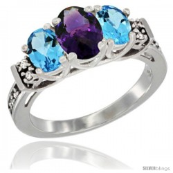 14K White Gold Natural Amethyst & Swiss Blue Topaz Ring 3-Stone Oval with Diamond Accent