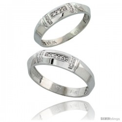 10k White Gold Diamond Wedding Rings 2-Piece set for him 5.5 mm & Her 4 mm 0.05 cttw Brilliant Cut