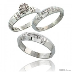 10k White Gold Diamond Trio Engagement Wedding Ring 3-piece Set for Him & Her 4.5 mm & 4 mm wide 0.10 cttw B -Style 10w022w3