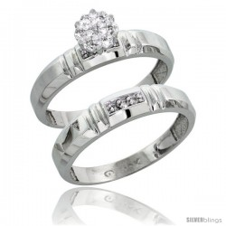 10k White Gold Diamond Engagement Rings Set 2-Piece 0.07 cttw Brilliant Cut, 5/32 in wide -Style 10w023e2