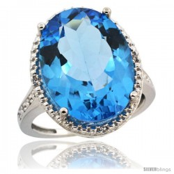 Sterling Silver Diamond Natural Swiss Blue Topaz Ring 13.56 Carat Oval Shape 18x13 mm, 3/4 in (20mm) wide