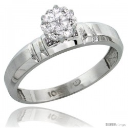 10k White Gold Diamond Engagement Ring 0.05 cttw Brilliant Cut, 5/32 in wide -Style 10w023er