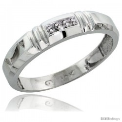 10k White Gold Ladies Diamond Wedding Band Ring 0.02 cttw Brilliant Cut, 5/32 in wide -Style 10w023lb
