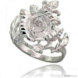 Sterling Silver Rose Flower Ring Polished finish 7/8 in wide