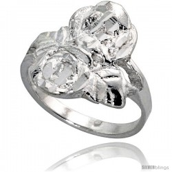 Sterling Silver Double Rose Ring Polished finish 5/8 in wide