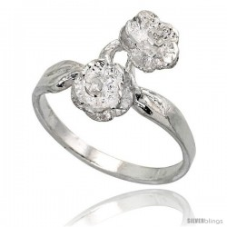 Sterling Silver Double Rose Ring Polished finish 5/8 in wide -Style Ffr432
