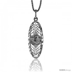 Sterling Silver Filigree Pendant, 1 in Tall