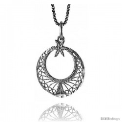 Sterling Silver Round Filigree Pendant, 3/4 in Tall -Style 4p354