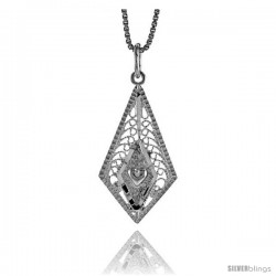 Sterling Silver Diamond Shaped Filigree Pendant, 1 in tall
