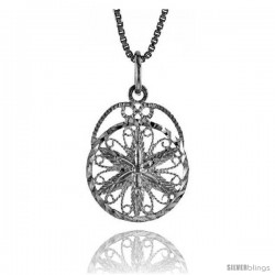 Sterling Silver Round Floral Filigree Pendant, 3/4 in tall