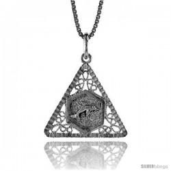 Sterling Silver Triangular Filigree Pendant, 3/4 in Tall