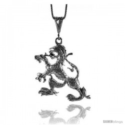 Sterling Silver Large Dragon Pendant, 1 3/4 in Tall