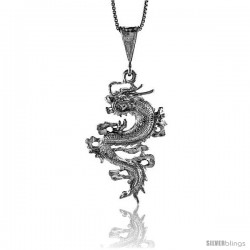 Sterling Silver Chinese Dragon Pendant, 1 1/2 in Tall