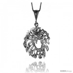 Sterling Silver Large Lion Head Pendant, 1 1/2 in Tall