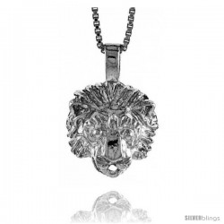Sterling Silver Small Lion Head Pendant, 1/2 in Tall