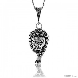 Sterling Silver Large Lion Head Pendant, 1 1/4 in Tall