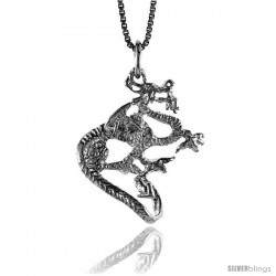 Sterling Silver Dragon Pendant, 1 in Tall