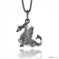 Sterling Silver Dragon Pendant, 5/8 in Tall