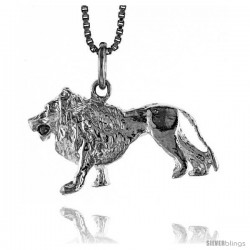 Sterling Silver Lion (D) Pendant, 5/8 in Tall