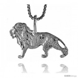 Sterling Silver Lion Pendant, 1/2 in Tall -Style 4p370