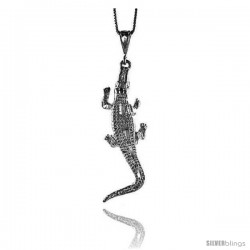 Sterling Silver Large Crocodile Pendant, 2 1/2 in Tall
