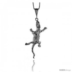 Sterling Silver Large Gecko Pendant, 2 3/8 in Tall