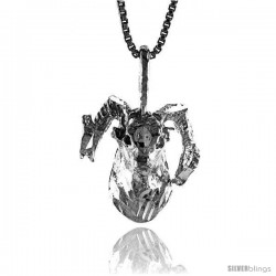 Sterling Silver Ram Head Pendant, 5/8 in Tall