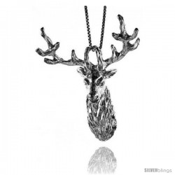 Sterling Silver Large Deer Head Pendant, 2 3/16 in Tall