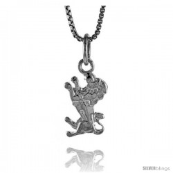 Sterling Silver Teeny Lion Pendant, 1/2 in Tall