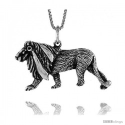 Sterling Silver Lion Pendant, 1 1/4 in Tall